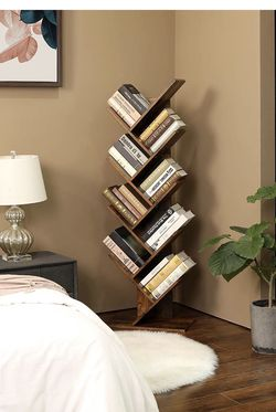 Tree Bookshelf, 8-Tier Floor Standing Bookcase, with Wooden Shelves for Living Room, Home Office, Rustic Brown ULBC11BX for Sale in Rancho Cucamonga,  CA