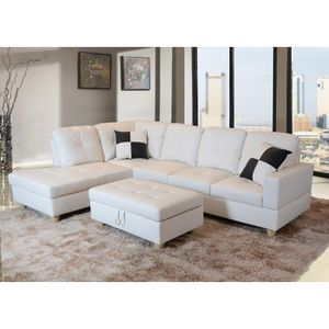 New sofa white leatherette sectional couch with pillows and ottoman new on sealed box PAYMENT upon delivery for Sale in Newberg, OR