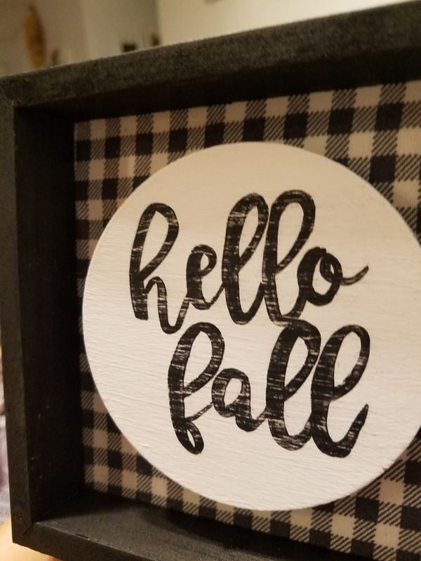 """Hello fall"" mini farmhouse sign"