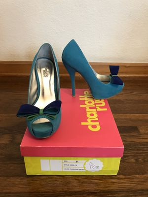 Turquoise high heels pumps with bow for Sale in Glendale, CA