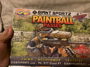 Paint ball tickets for all day for Sale in Los Angeles, CA