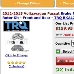 Volkswagen Passat 2015 Brake Pad And Rotor Kit for Sale in SeaTac, WA