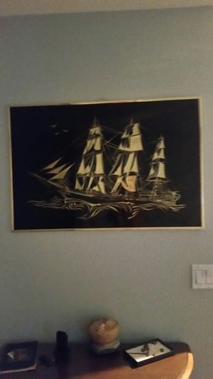 Black and Gold etched sailboat picture, good condition for Sale in Fort Myers, FL