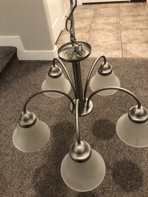 Satin nickel light fixture practically new for Sale in Eagle Mountain, UT