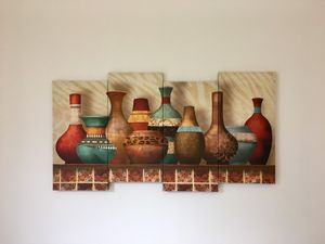 4 piece canvas art of colored pots home decor for living room bedroom lobby wall for Sale in Seattle, WA