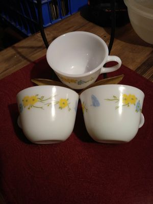 Pyrex Flirtation Set of 3 Tea Cups Blue & Yellow Flower Butterfly Corning for Sale in Pahrump, NV