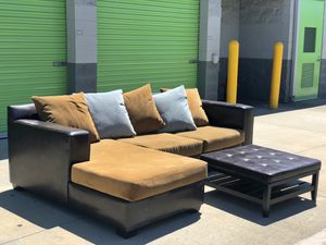 $100 O.B.O Microfiber Swede Two Piece Sectional L-Couch W/ Ottoman. Removable and Washable Fabric. Great Condition. for Sale in Mission Viejo, CA