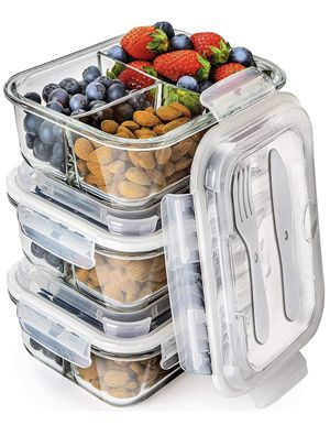 Glass Meal Prep Containers 3 Compartment - Bento Box Containers Glass Food Storage Containers with Lids - Food Containers Food Prep Containers Glass for Sale in Brooklyn, NY