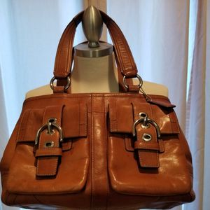 Coach Whiskey Brown Leather Medium Satchel Bag Purse F08A09 Classic Style for Sale in Yorba Linda, CA