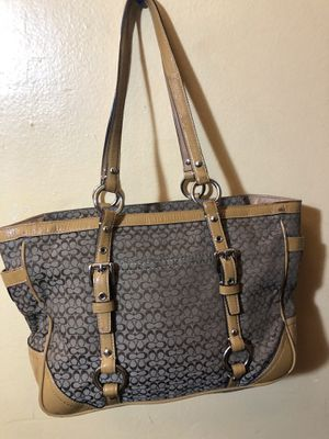 Khaki and brown coach bag tote for Sale in Capitol Heights, MD