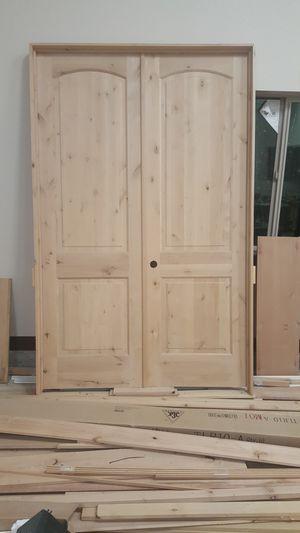 Double door 5' wide, 8' high. Puerta doble. Beautiful knotty alder door for Sale in Denver, CO