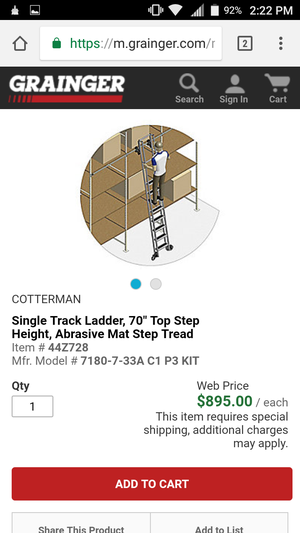 NEED GONE!! CHEAP!! BRAND NEW!! Cotterman 7180-7 Industrial Ladder for Sale in Portland, OR