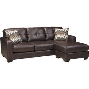 ASHLEY BROWN LEATHER SOFA CHAISE SECTIONAL COMPACT for Sale in Washington, DC