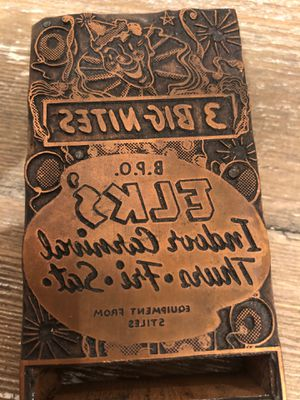 Printing block antique brass and wood ELKS CLUB for Sale in Auburn, WA