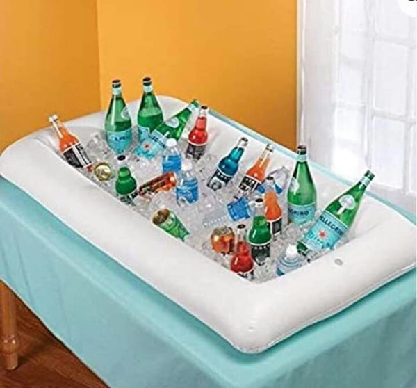 NEW WITHOUT TAGS Inflatable Serving/Salad Bar Tray Food Drink Holder - BBQ Picnic Pool Party Buffet Luau Cooler,with a drain plug.