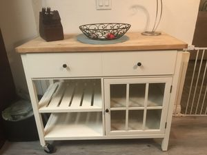 White Server/Buffet with wood top for Sale in Hemet, CA