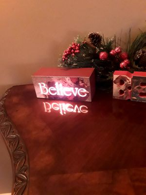 "Christmas ""Believe "" Light-up Sign & Wood Sign - Brand New for Sale in West Covina, CA"