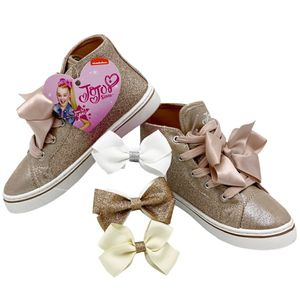 JoJo Siwa High Top Shoes Kids Gold Glitter Sparkle Chucks Sneakers JoJo Bow for Sale in Riverside, CA