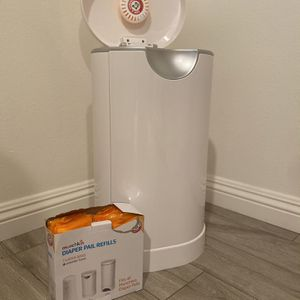 Munchkin Diaper Pail & Opened Box Of Lavender Scent Refills for Sale in North Tustin, CA