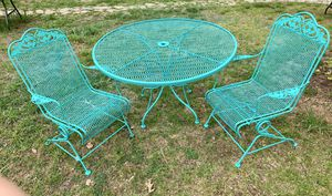 Teal green wrought iron patio set table chairs for Sale in Bethesda, MD
