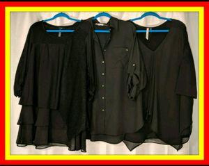 (Qty 3) 1X Plus Size Black Blouse Top DRESSY Tunic for Sale in Austin, TX