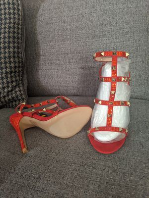 Brand new fashion Nova red sparkly 4.5 inch heels size 7.5 for Sale in Marietta, GA