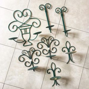 7 Vintage Green Metal Candle Holders for Sale in San Diego, CA