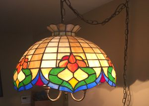 Pair of Tiffany inspired stained glass pendant light fixtures for Sale in St. Louis, MO
