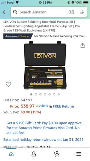 LEXIVON Butane Soldering Iron Multi-Purpose Kit | Cordless Self-Igniting Adjustable Flame 7-Tip Set | Pro Grade 125-Watt Equivalent (LX-770) for Sale in DeBary, FL