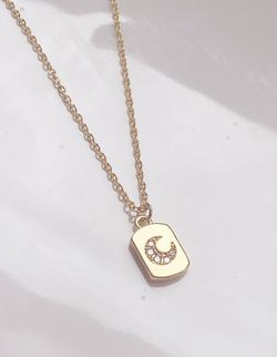 Vintage Style CZ Moon Necklace/14k Gold Plated for Sale in Bridgeport,  WV