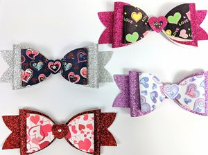 Lot of 4 New Handmade Large Girls Heart Themed Hair Bows for Sale in Sykesville, MD