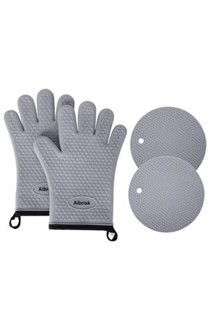 Aibrisk Silicone Oven Mitts and Pot Holders,4PCS Thicken Heat Resistant Flexible Non-Slip Surface Cooking Gloves and Potholders Trivet Mats for Safe for Sale in Orlando, FL