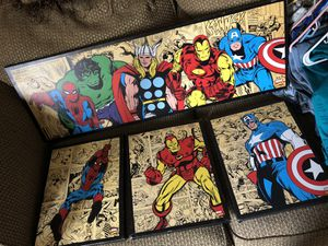 Avengers pictures, spider Man chair, 2 avengers lamps for Sale in Knoxville, TN