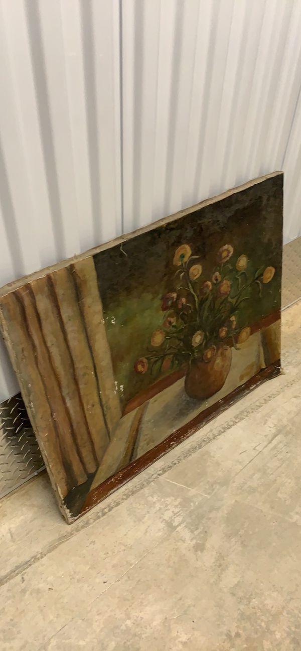 Antique flower painting