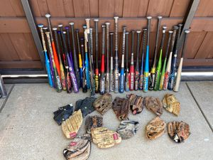 Baseball and softball lot. Bats and gloves. Will sell only together for Sale in Frisco, TX