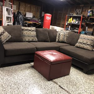 2-Piece Sectional with Storage Ottoman FREE DELIVERY for Sale in Dearborn, MI