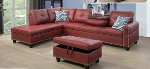 Brand new in box red faux leather sectional storage ottoman nailhead trim with pillows and beverage holder for Sale in COLLEGE PARK, MD