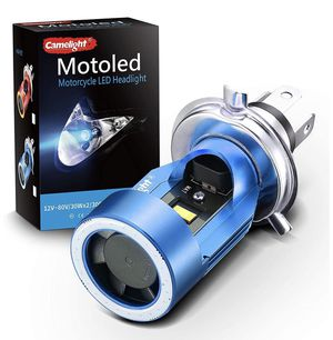 Brand New in Box LED Motorcycle Headlights Camelight H4/HS1 Hi/Lo Blu-ray Angel Eye DC 12V/24V Universal Replacement of H4 Halogen Lamp White 6000K ( for Sale in Hayward, CA