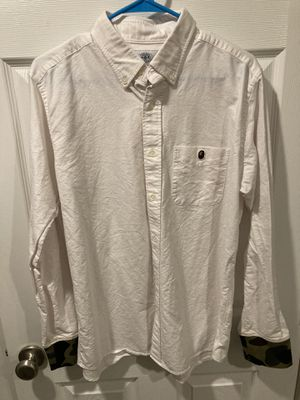 BAPE White button up with camo sleeve accents and gorilla on pocket for Sale in Portland, OR
