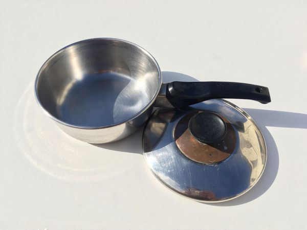 Vintage 2qt Stainless Steel Sauce Pot Pan Copper Bottom with Lid
