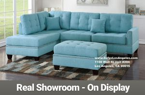 Real Showroom 😁 We Finance - Blue Reversible Chaise Couch Sofa Sectional With Ottoman for Sale in Los Angeles, CA