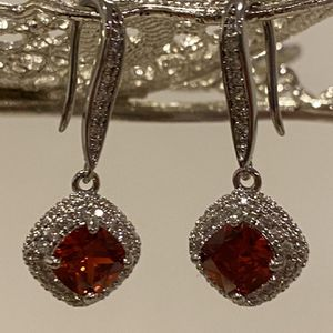 Silver Earrings - Red Stone for Sale in San Jose, CA