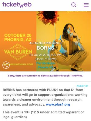 Borns tickets for Sale in Phoenix, AZ