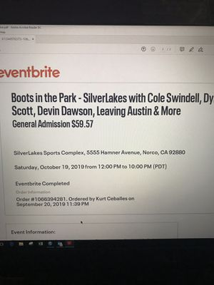 2 tickets to boots in the park concert for Sale in Santa Ana, CA