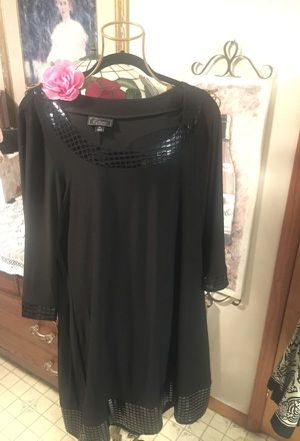 Designer Misses short black dress stretch lose fit scoop neck beaded neckline and cuffs size large XL for Sale in Northfield, OH