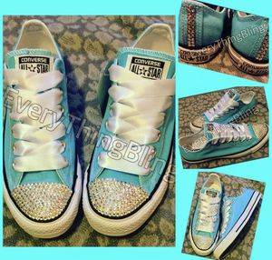 BLING BLING! Converse Tiffany Blue Custom Swarovski shoes women's size 10 for Sale in Beaumont, CA
