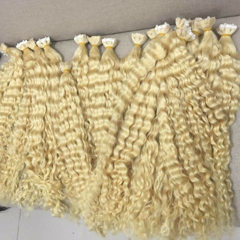 Superior quality curly blonde hairs custommmade weft or bulk or prebond