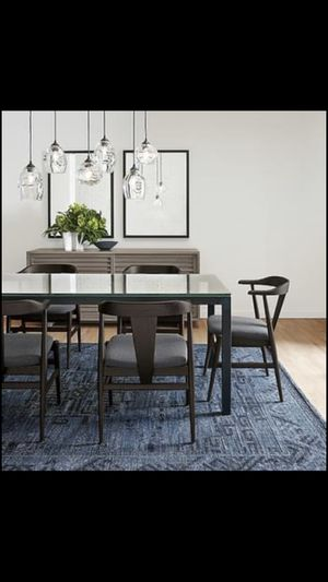 Room & Board glass top kitchen table + 4 leather chairs for Sale in Denver, CO