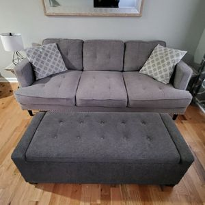 BEAUTIFUL GRAY RECLINER SOFA for Sale in Baltimore, MD
