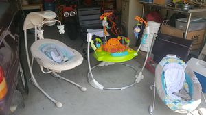 Baby ingenuity swing and rocker and a jungle bouncer for Sale in Norfolk, VA